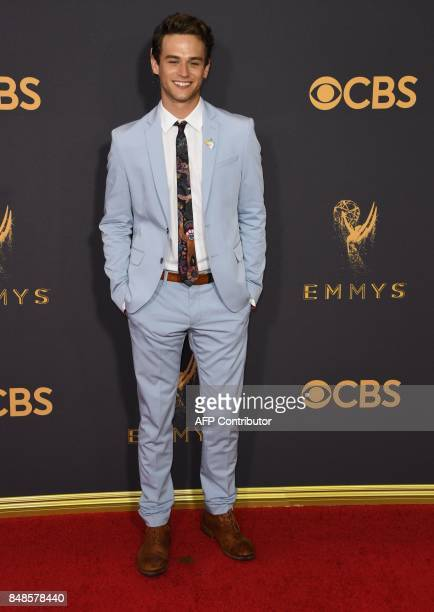 Brandon Flynn arrives for the 69th Emmy Awards at the Microsoft Theatre on September 17 2017 in Los Angeles California / AFP PHOTO / Mark RALSTON
