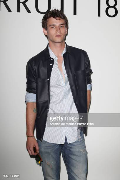 Brandon Flynn attends the Cerruti Menswear Spring/Summer 2018 show as part of Paris Fashion Week on June 23 2017 in Paris France