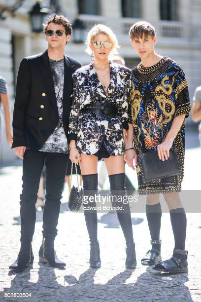 Brandon Flynn Caroline Daur and Tommy Dorfman attend the Balmain Menswear Spring/Summer 2018 show as part of Paris Fashion Week on June 24 2017 in...