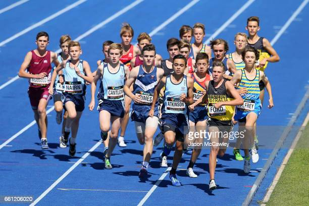 Brandon Ford of WA leads the field in the mens under 15s 1500m final during day six of the Australian Athletics Championships at Sydney Olympic Park...