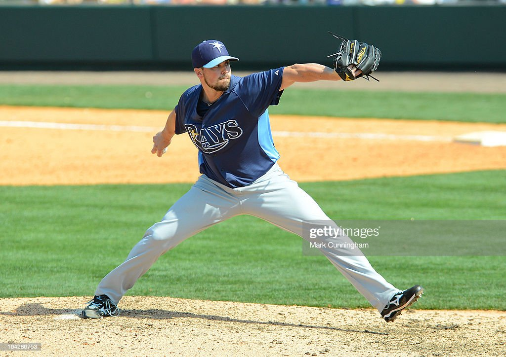 <a gi-track='captionPersonalityLinkClicked' href=/galleries/search?phrase=Brandon+Gomes&family=editorial&specificpeople=7511977 ng-click='$event.stopPropagation()'>Brandon Gomes</a> #47 of the Tampa Bay Rays pitches during the spring training game against the Detroit Tigers at Joker Marchant Stadium on March 19, 2013 in Lakeland, Florida. The Rays defeated the Tigers 11-5.