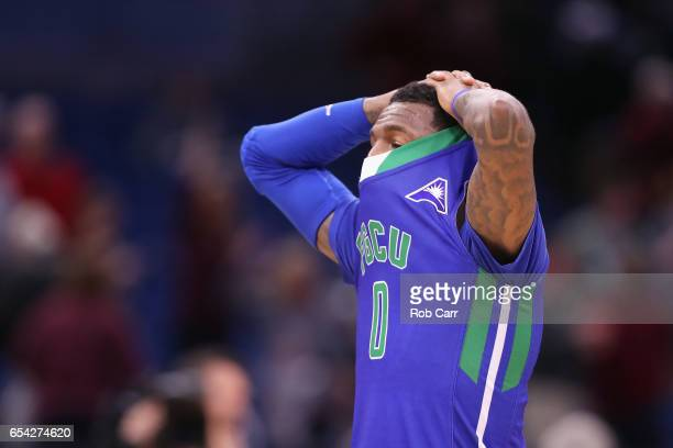 Brandon Goodwin of the Florida Gulf Coast Eagles reacts after being defeated by the Florida State Seminoles 8680 during the first round of the 2017...