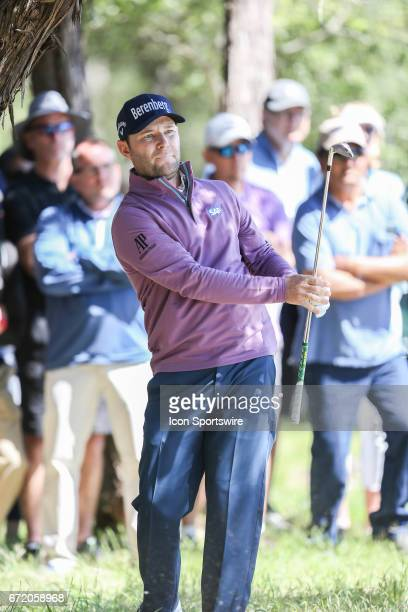 Brandon Grace punches out of the rough during the 4th round of the Valero Texas Open at the TPC San Antonio Oaks Course in San Antonio TX on April 23...
