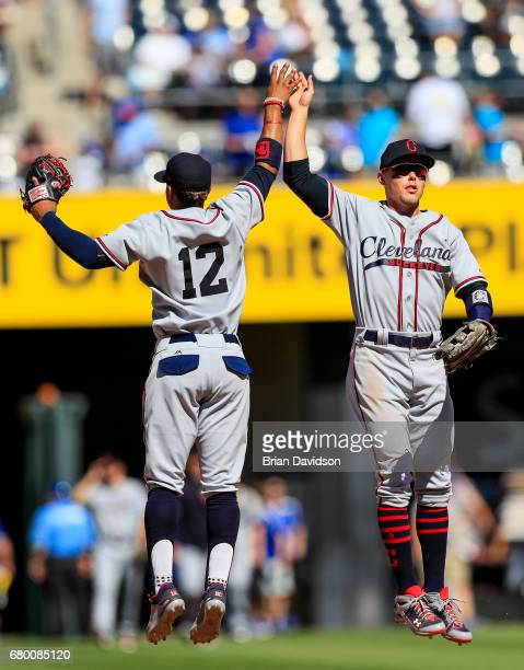 Brandon Guyer and Francisco Lindor of the Cleveland Indians celebrate defeating the Kansas City Royals 10 at Kauffman Stadium on May 7 2017 in Kansas...