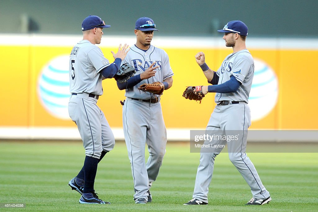 Brandon Guyer #5, Desmond Jennings #20 and Kevin Kiermaier #39 of the Tampa Bay Rays celebrate a win after a baseball game against the Baltimore Orioles on June 28, 2014 at Oriole Park at Camden Yards in Baltimore, Maryland. The Rays won 5-4.