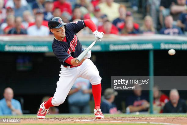 Brandon Guyer of the Cleveland Indians attempts a bunt against of the New York Yankees in the first inning at Progressive Field on August 5 2017 in...