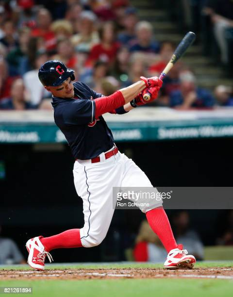 Brandon Guyer of the Cleveland Indians bats against the Detroit Tigers during the fourth inning at Progressive Field on July 9 2017 in Cleveland Ohio