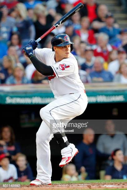 Brandon Guyer of the Cleveland Indians bats against the New York Yankees in the second inning at Progressive Field on August 4 2017 in Cleveland Ohio...