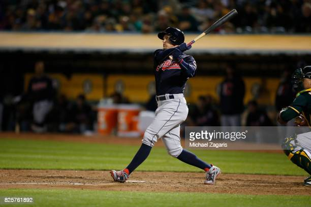 Brandon Guyer of the Cleveland Indians bats during the game against the Oakland Athletics at the Oakland Alameda Coliseum on July 14 2017 in Oakland...