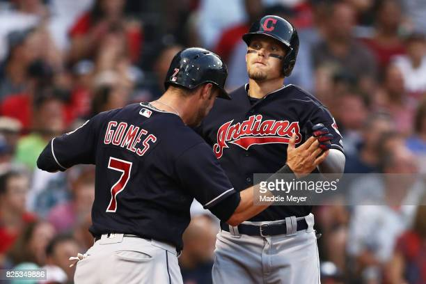 Brandon Guyer of the Cleveland Indians celebrates with Yan Gomes after hitting a two run homer against the Boston Red Sox during the second inning at...