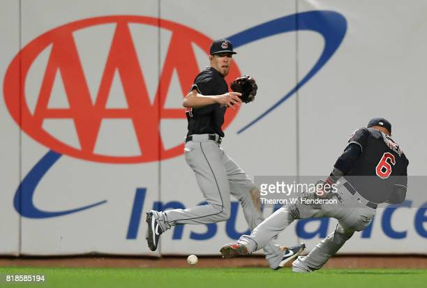 Brandon Guyer of the Cleveland Indians drops a fly ball that goes for a twobase error off the bat of Eduardo Nunez of the San Francisco Giants in the...