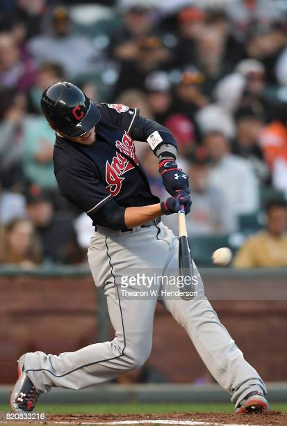 Brandon Guyer of the Cleveland Indians hits an rbi triple scoring Bradley Zimmer against the San Francisco Giants in the top of the third inning at...