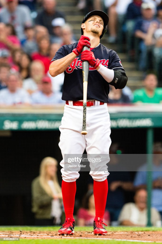 Brandon Guyer #6 of the Cleveland Indians reacts after being called for strike three during the second inning against the Boston Red Sox at Progressive Field on August 23, 2017 in Cleveland, Ohio.