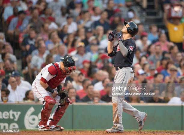 Brandon Guyer of the Cleveland Indians reacts after hitting a home run against the Boston Red Sox in the second inning on August 1 2017 in Boston...