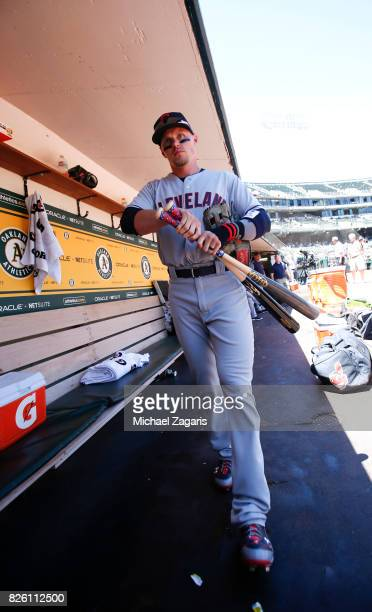Brandon Guyer of the Cleveland Indians stands in the dugout prior to the game against the Oakland Athletics at the Oakland Alameda Coliseum on July...