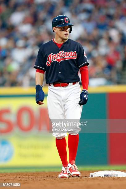 Brandon Guyer of the Cleveland Indians stands on second base against the New York Yankees in the fourth inning at Progressive Field on August 3 2017...