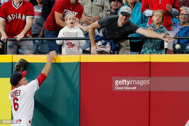 Brandon Guyer of the Cleveland Indians watches the home run hit by Todd Frazier of the New York Yankees go into the stands in the fifth inning at...