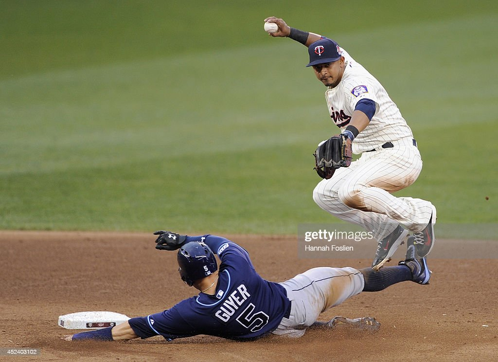 Brandon Guyer #5 of the Tampa Bay Rays is out at second base as <a gi-track='captionPersonalityLinkClicked' href=/galleries/search?phrase=Eduardo+Escobar&family=editorial&specificpeople=7522733 ng-click='$event.stopPropagation()'>Eduardo Escobar</a> #5 of the Minnesota Twins turns a double play during the sixth inning of the game on July 19, 2014 at Target Field in Minneapolis, Minnesota. The Rays defeated the Twins 5-1.