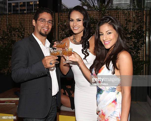 Brandon Guzman Jes Meza and Tracy Perez attend A Toast to Latinos In Hollywood presented by Hennessy and 'East Los High' at The Line Hotel on August...