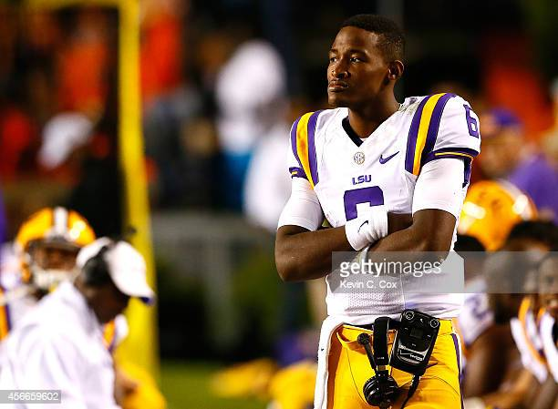 Brandon Harris of the LSU Tigers looks on from sideline during the game against the Auburn Tigers at Jordan Hare Stadium on October 4 2014 in Auburn...