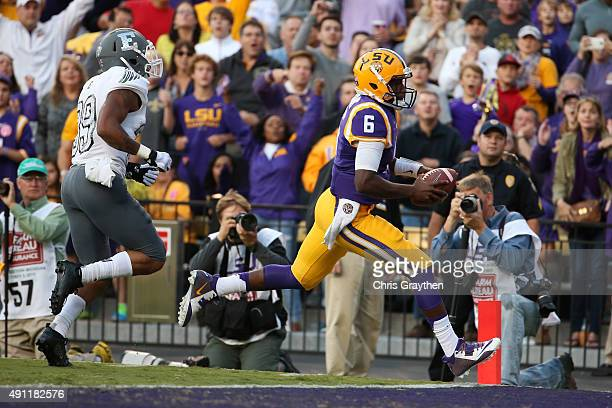 Brandon Harris of the LSU Tigers scores a touchdown against the Eastern Michigan Eagles at Tiger Stadium on October 3 2015 in Baton Rouge Louisiana