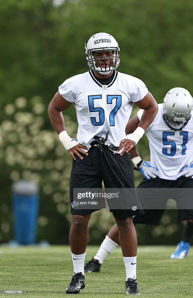 Brandon Hepburn #57 of the Detroit Lions leads his group at the start of the first day of Rookie Camp on May 10, 2013 in Allen Park, Michigan.