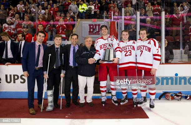 Brandon Hickey Nikolas Olsson coach David Quinn Doyle Somerby Jakob Forsbacka Karlsson Charlie McAvoy all of the Boston University Terriers accept...