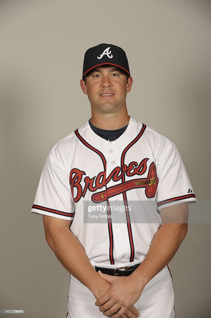 Brandon Hicks (19) of the Atlanta Braves poses during Photo Day on Wednesday, February 29, 2012 at Champion Stadium in Lake Buena Vista, Florida.