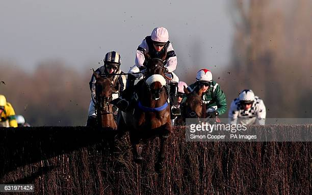 Brandon Hill ridden by Noel Fehily jumps the last to win The Betfred 'Treble Odds On All Lucky 15's' Handicap Steeplechase at Newbury Racecourse