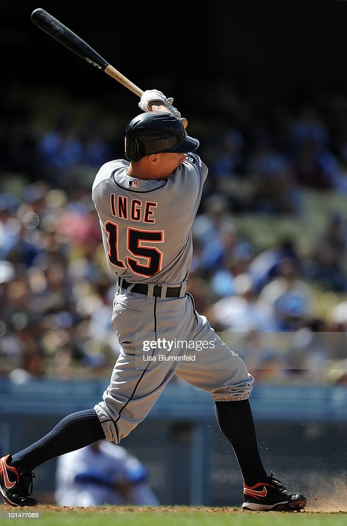 Brandon Inge #15 of the Detroit Tigers at bat against the Los Angeles Dodgers at Dodger Stadium on May 23, 2010 in Los Angeles, California.
