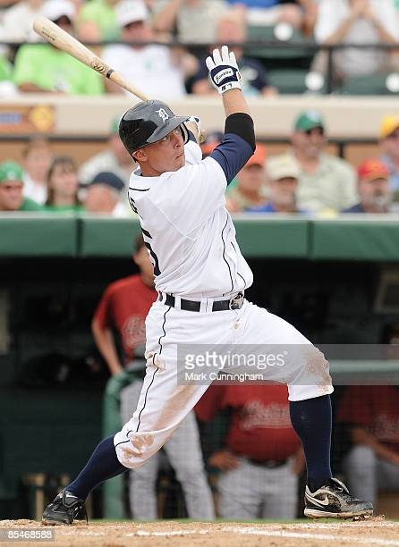 Brandon Inge of the Detroit Tigers bats against the Houston Astros during the spring training game at Joker Marchant Stadium March 17 2009 in...