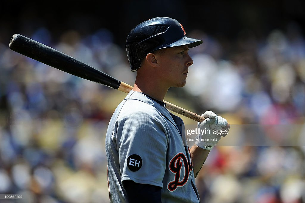 Brandon Inge #15 of the Detroit Tigers waits on deck during the game against the Los Angeles Dodgers at Dodger Stadium on May 23, 2010 in Los Angeles, California.