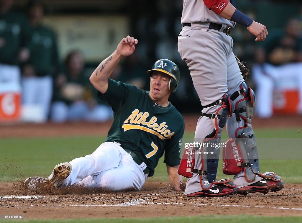 <a gi-track='captionPersonalityLinkClicked' href=/galleries/search?phrase=Brandon+Inge&family=editorial&specificpeople=204688 ng-click='$event.stopPropagation()'>Brandon Inge</a> #7 of the Oakland Athletics slides home safe on a Johny Gomes single in the 3rd inning against the Boston Red Sox during a Major League Baseball game at the O.co Coliseum on September 1, 2012 in Oakland, California.