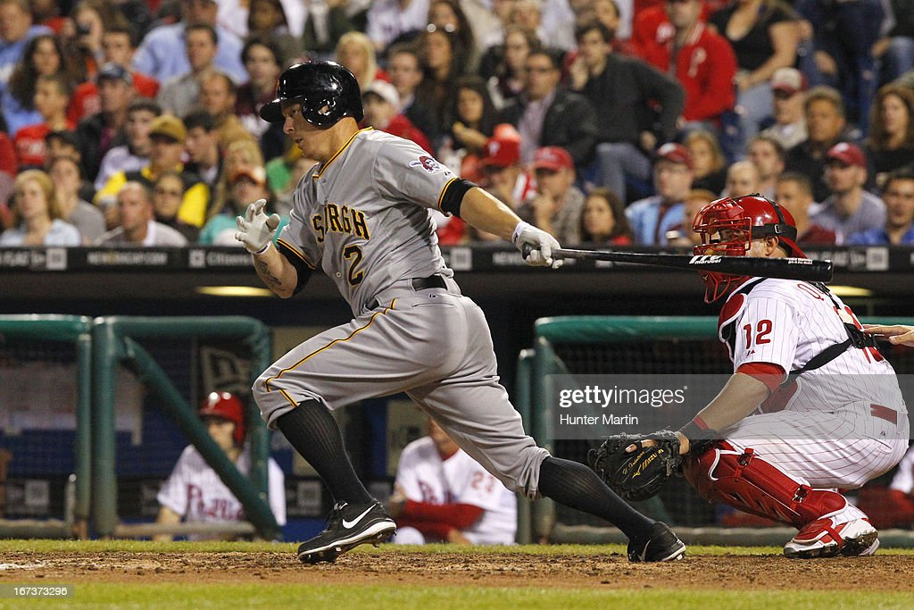 <a gi-track='captionPersonalityLinkClicked' href=/galleries/search?phrase=Brandon+Inge&family=editorial&specificpeople=204688 ng-click='$event.stopPropagation()'>Brandon Inge</a> #2 of the Pittsburgh Pirates singles in the winning run in the eighth inning during a game against the Philadelphia Phillies at Citizens Bank Park on April 24, 2013 in Philadelphia, Pennsylvania. The Pirates won 5-3.
