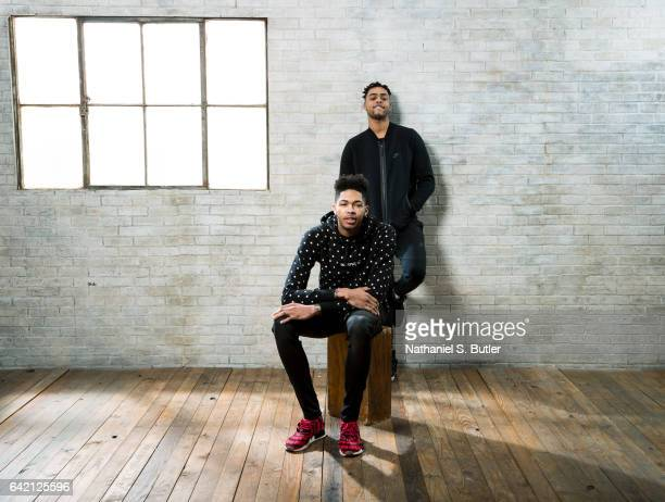 Brandon Ingram and D'Angelo Russell poses for a photo of the Los Angeles Lakers during the 2017 AllStar Media Circuit at the Ritz Carlton in New...