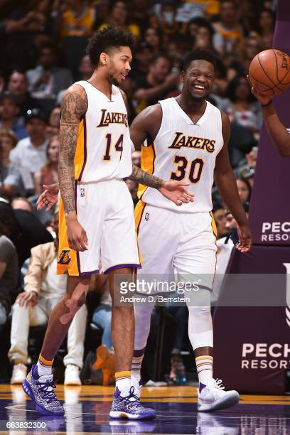 Brandon Ingram and Julius Randle of the Los Angeles Lakers are seen during the game against the Memphis Grizzlies on April 2 2017 at STAPLES Center...