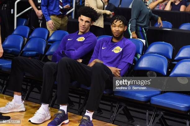 Brandon Ingram and Lonzo Ball of the Los Angeles Lakers looks on before the game against the Denver Nuggets on October 4 2017 at Citizens Business...