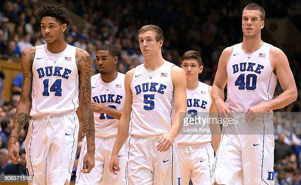 Brandon Ingram Matt Jones Luke Kennard Grayson Allen and Marshall Plumlee of the Duke Blue Devils return to the court following a time out during...