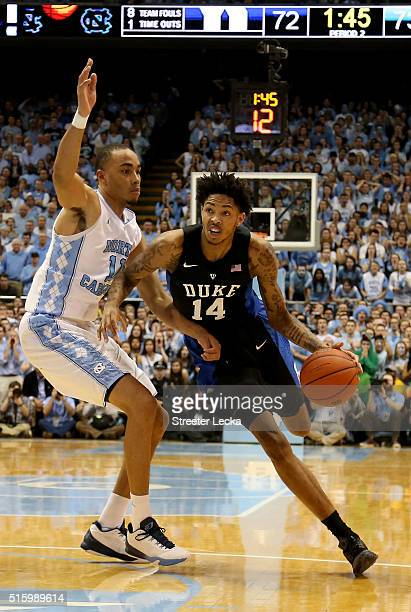 Brandon Ingram of the Duke Blue Devils and Brice Johnson of the North Carolina Tar Heels during their game at Dean Smith Center on February 17 2016...