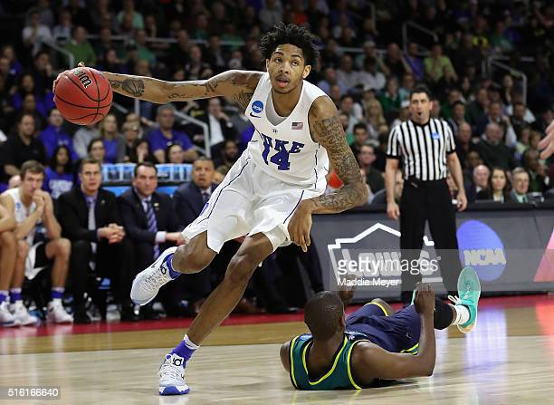 Brandon Ingram of the Duke Blue Devils dribbles the ball in the second half against the North CarolinaWilmington Seahawks during the first round of...