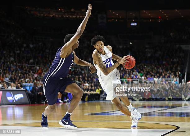 Brandon Ingram of the Duke Blue Devils drives against Justin Sears of the Yale Bulldogs in the first half of their game during the second round of...