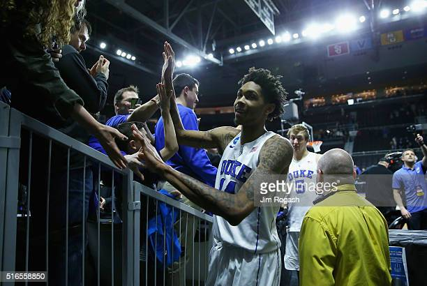 Brandon Ingram of the Duke Blue Devils greets fans after defeating the Yale Bulldogs 7164 during the second round of the 2016 NCAA Men's Basketball...