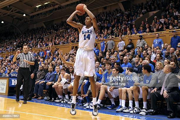 Brandon Ingram of the Duke Blue Devils puts up a shot against the Yale Bulldogs at Cameron Indoor Stadium on November 25 2015 in Durham North...