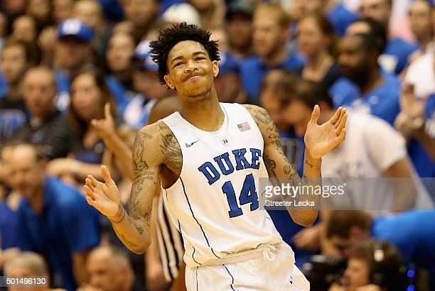 Brandon Ingram of the Duke Blue Devils reacts after a play during their game against the Georgia Southern Eagles at Cameron Indoor Stadium on...