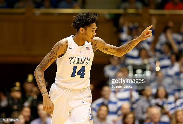 Brandon Ingram of the Duke Blue Devils reacts after a play during their game against the Virginia Tech Hokies at Cameron Indoor Stadium on January 9...
