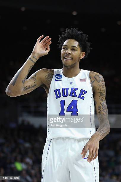 Brandon Ingram of the Duke Blue Devils reacts in the first half against the North CarolinaWilmington Seahawks during the first round of the 2016 NCAA...