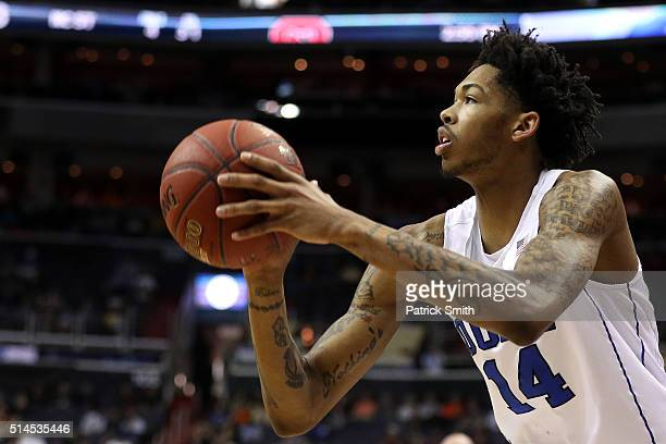 Brandon Ingram of the Duke Blue Devils shoots against the North Carolina State Wolfpack during the first half in the second round of the 2016 ACC...