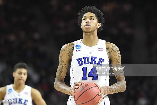 Brandon Ingram of the Duke Blue Devils takes a foul shot during a first round NCAA College Basketball Tournament game against the Yale Bulldogs at...