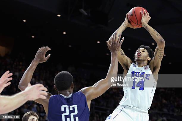 Brandon Ingram of the Duke Blue Devils takes a shot againsts Justin Sears of the Yale Bulldogs during the second round of the 2016 NCAA Men's...