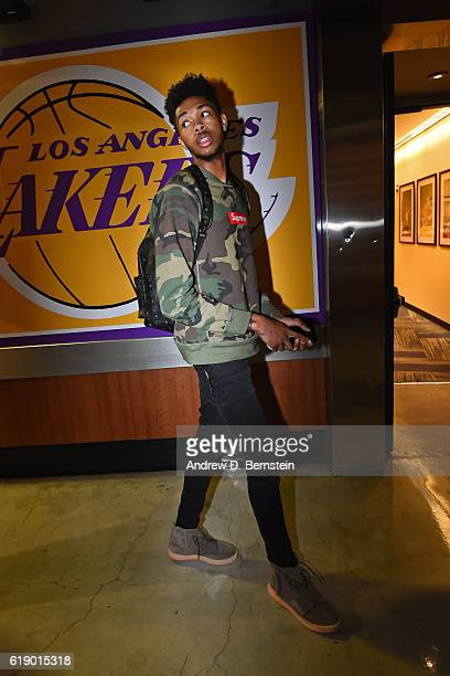 Brandon Ingram of the Los Angeles Lakers arrives at the arena before the game against the Houston Rockets on October 26 2016 at STAPLES Center in Los...